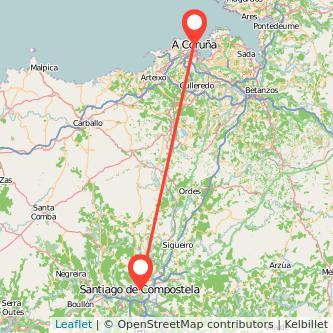 Mapa del viaje A Coruña Santiago de Compostela en tren