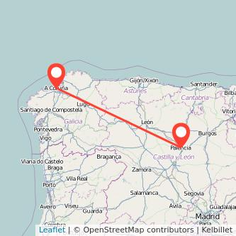 Mapa del viaje A Coruña Palencia en tren