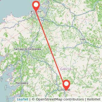 Mapa del viaje A Coruña Ourense en tren