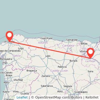 Mapa del viaje A Coruña Logroño en tren