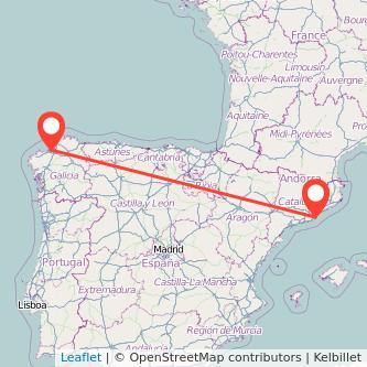 Mapa del viaje A Coruña Barcelona en bus