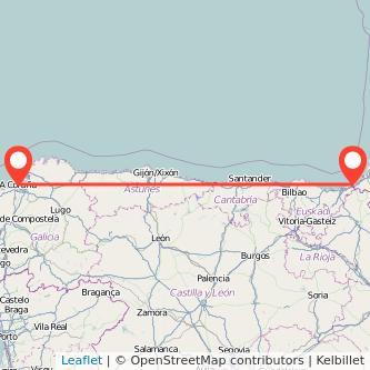 Mapa del viaje A Coruña Hendaya en tren