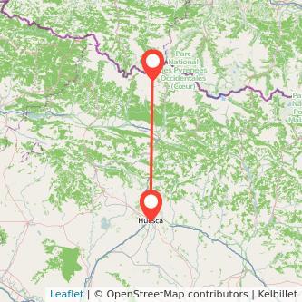Mapa del viaje Huesca Formigal en bus