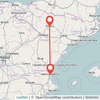 Mapa del viaje Huesca Valencia en bus