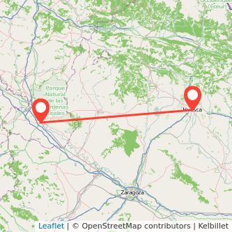 Mapa del viaje Huesca Tudela en bus