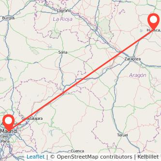 Mapa del viaje Huesca Madrid en tren