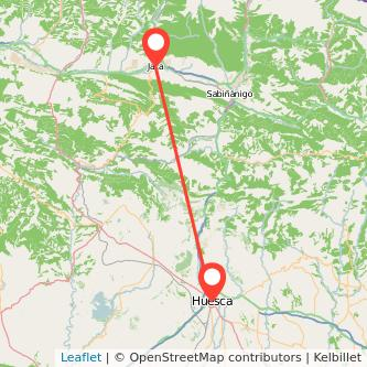 Mapa del viaje Huesca Jaca en bus