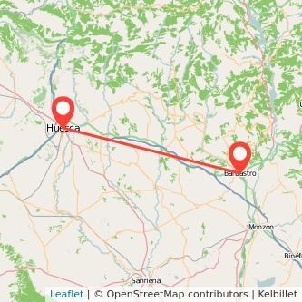 Mapa del viaje Huesca Barbastro en bus
