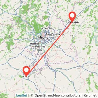 Mapa del viaje Guadalajara Toledo en bus