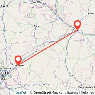 Mapa del viaje Guadalajara Zaragoza en bus