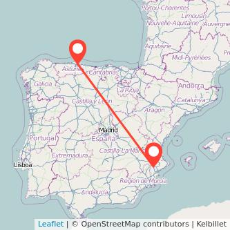 Mapa del viaje Gijón Villena en tren