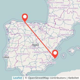Mapa del viaje Gijón Benidorm en bus