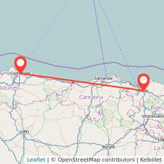 Mapa del viaje Gijón Bilbao en bus