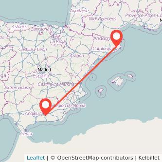 Mapa del viaje Girona Granada en bus