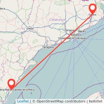 Mapa del viaje Girona Castellón en tren