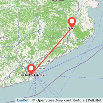 Mapa del viaje Girona L'Hospitalet de Llobregat en tren