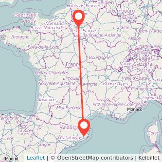 Mapa del viaje Girona París en bus