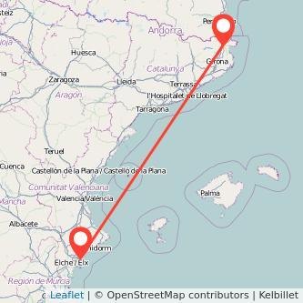 Mapa del viaje Figueres Alicante en tren