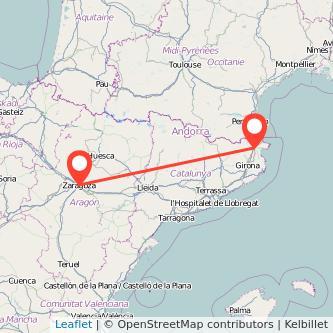 Mapa del viaje Figueres Zaragoza en tren