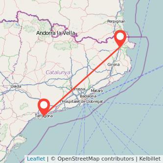 Mapa del viaje Figueres Tarragona en tren