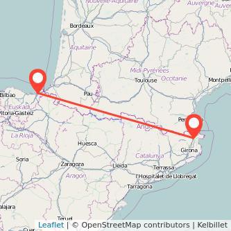 Mapa del viaje Figueres San Sebastián en tren