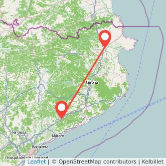 Mapa del viaje Figueres Sant Celoni en tren
