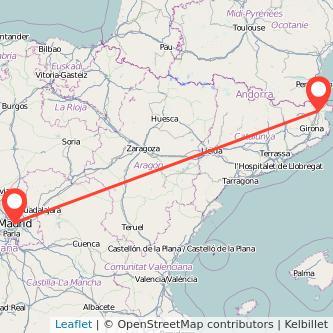 Mapa del viaje Figueres Madrid en tren
