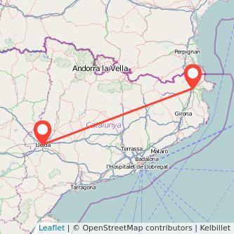 Mapa del viaje Figueres Lérida en tren
