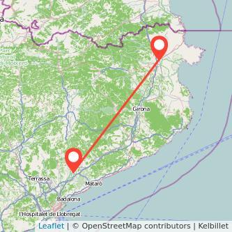 Mapa del viaje Figueres Granollers en tren