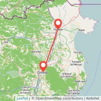 Mapa del viaje Figueres Girona en tren