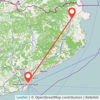 Mapa del viaje Figueres Barcelona en tren