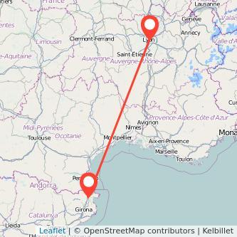 Mapa del viaje Figueres Lyon en tren