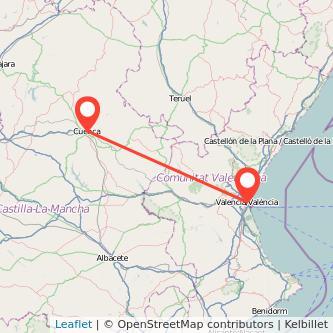 Mapa del viaje Cuenca Valencia en tren