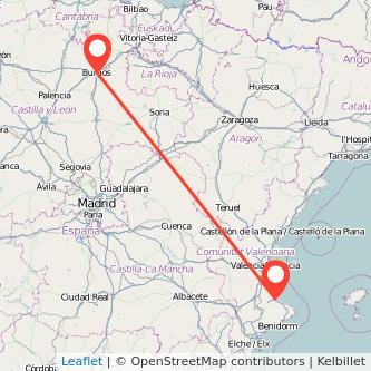 Mapa del viaje Burgos Gandia en bus