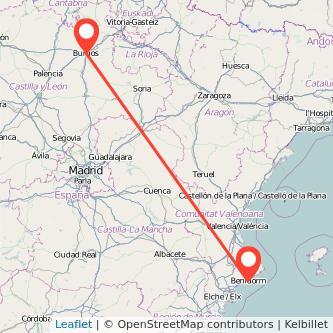 Mapa del viaje Burgos Benidorm en bus