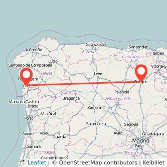 Mapa del viaje Burgos Vigo en bus