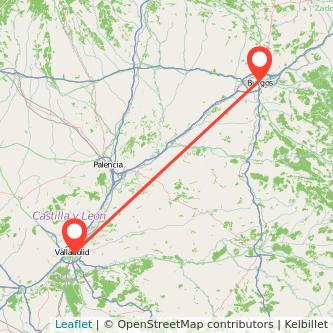 Mapa del viaje Burgos Valladolid en bus