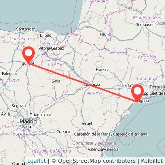 Mapa del viaje Burgos Salou - Port Aventura en bus