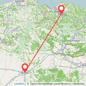 Mapa del viaje Burgos Bilbao en bus