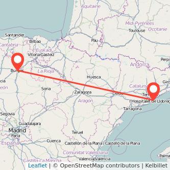 Mapa del viaje Burgos Barcelona en bus