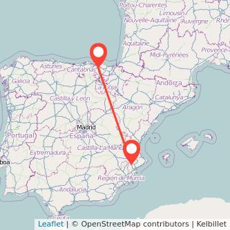 Mapa del viaje Bilbao Villena en tren