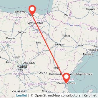 Mapa del viaje Bilbao Valencia en tren
