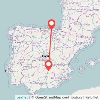 Mapa del viaje Bilbao Valdepeñas en tren