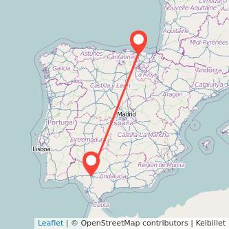 Mapa del viaje Bilbao Sevilla en tren