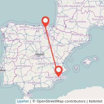 Mapa del viaje Bilbao Murcia en bus