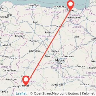 Mapa del viaje Bilbao Mérida en bus