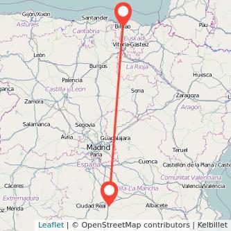 Mapa del viaje Bilbao Manzanares en bus