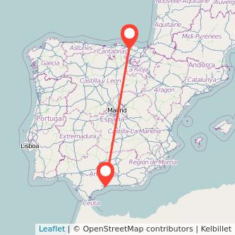 Mapa del viaje Bilbao Málaga en tren