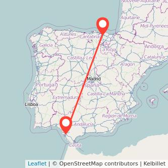 Mapa del viaje Bilbao Jerez de la Frontera en tren
