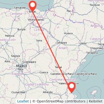 Mapa del viaje Bilbao Gandia en bus